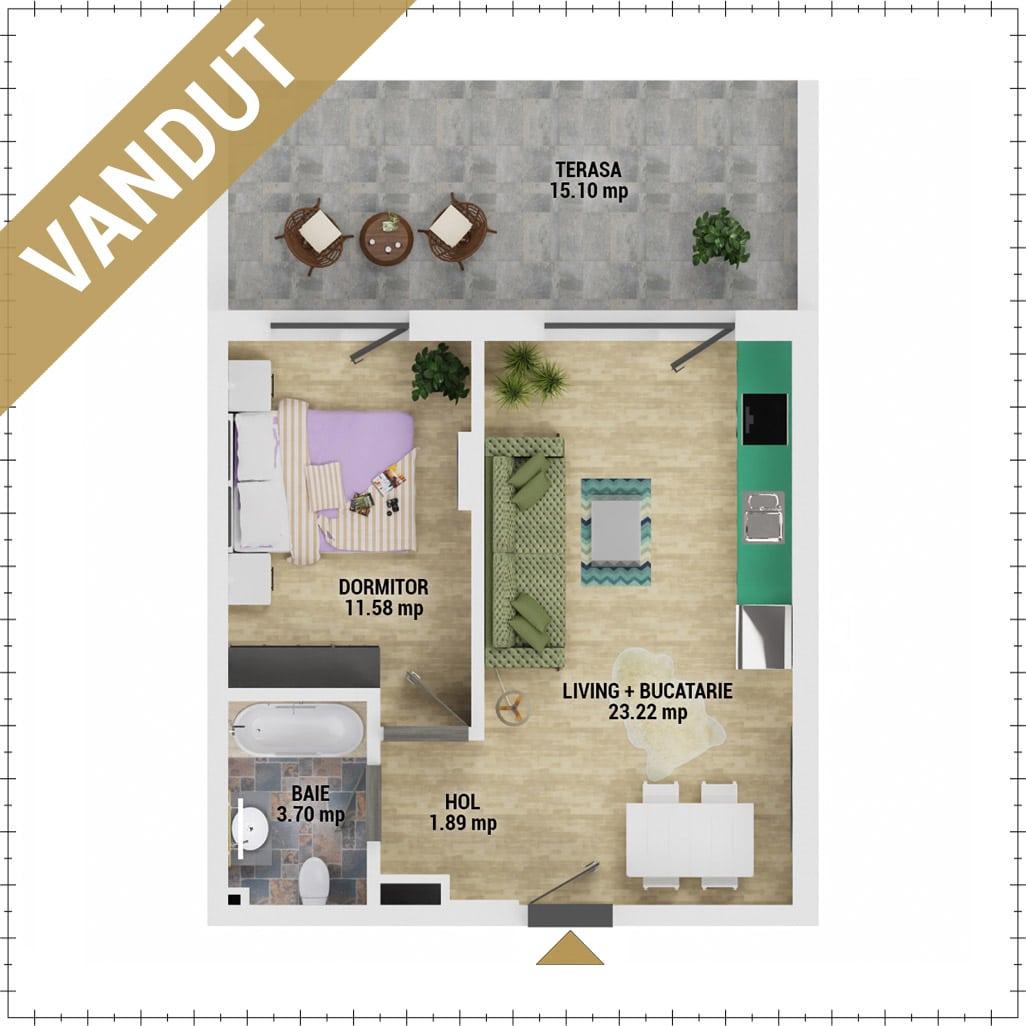 Apartament 2 camere de vanzare Bucuresti - Uverturii Residence - Militari - Lujerului - Gorjului - Tip 5 - T2 - V