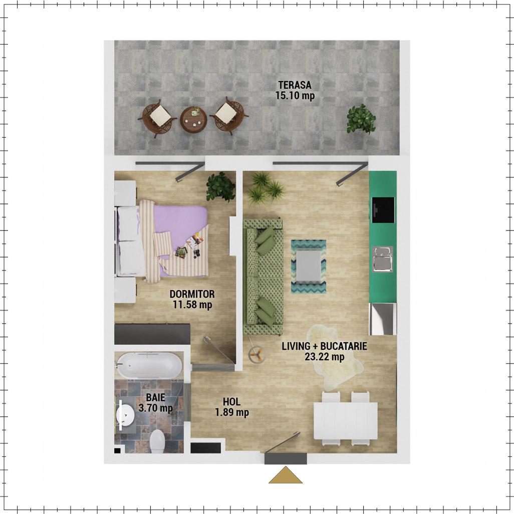 Apartament 2 camere de vanzare Bucuresti - Uverturii Residence - Militari - Lujerului - Gorjului - Tip 5 - T2 - E