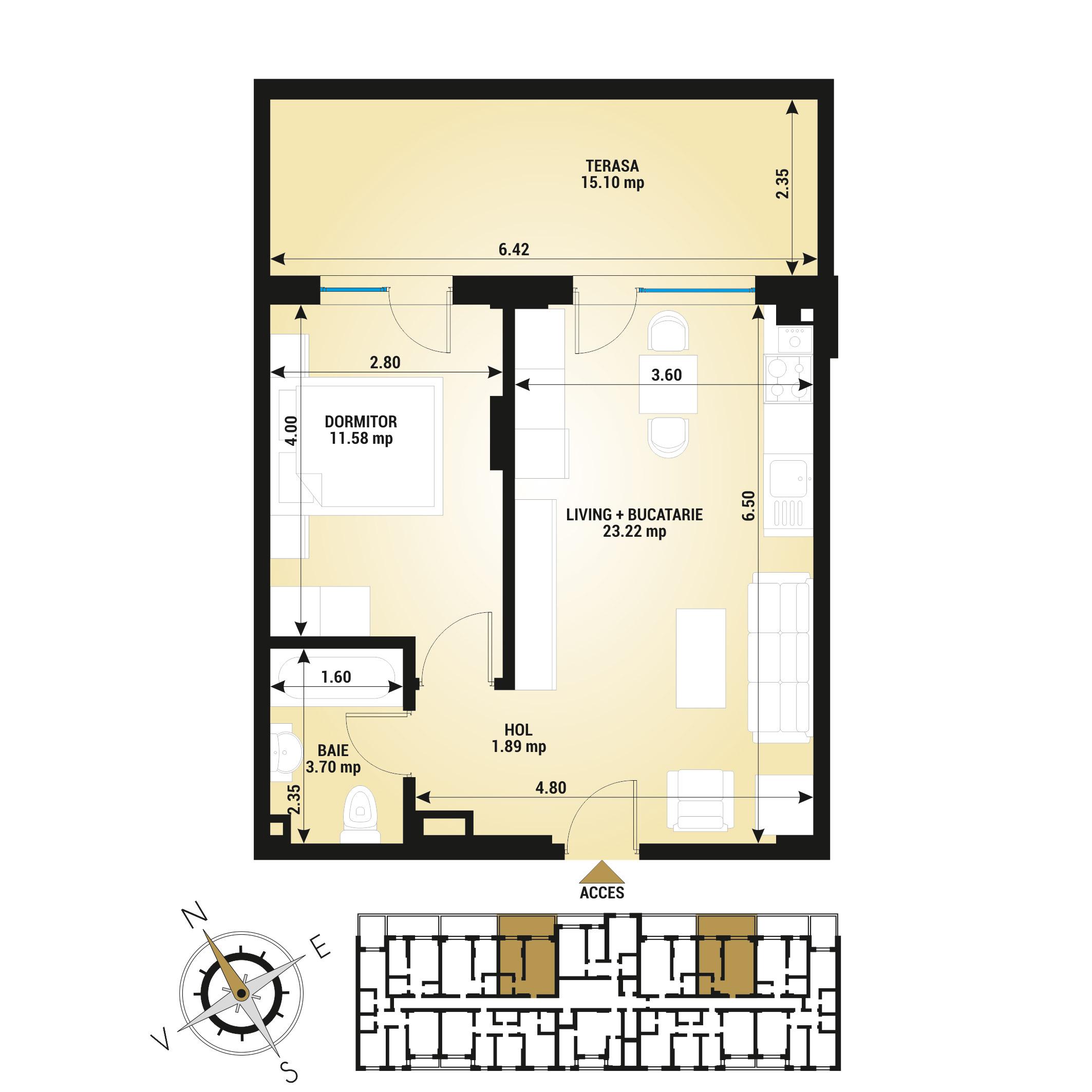Apartament 2 camere de vanzare Bucuresti - Uverturii Residence - Militari - Lujerului - Gorjului - Tip 5 - T2