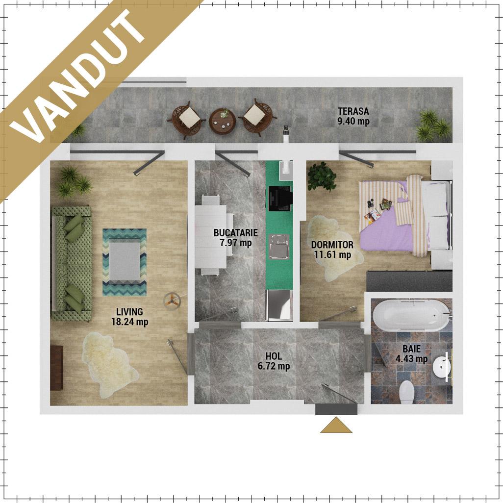 Apartament 2 camere de vanzare Bucuresti - Uverturii Residence - Militari - Lujerului - Gorjului - Tip 6 - T2 - EV