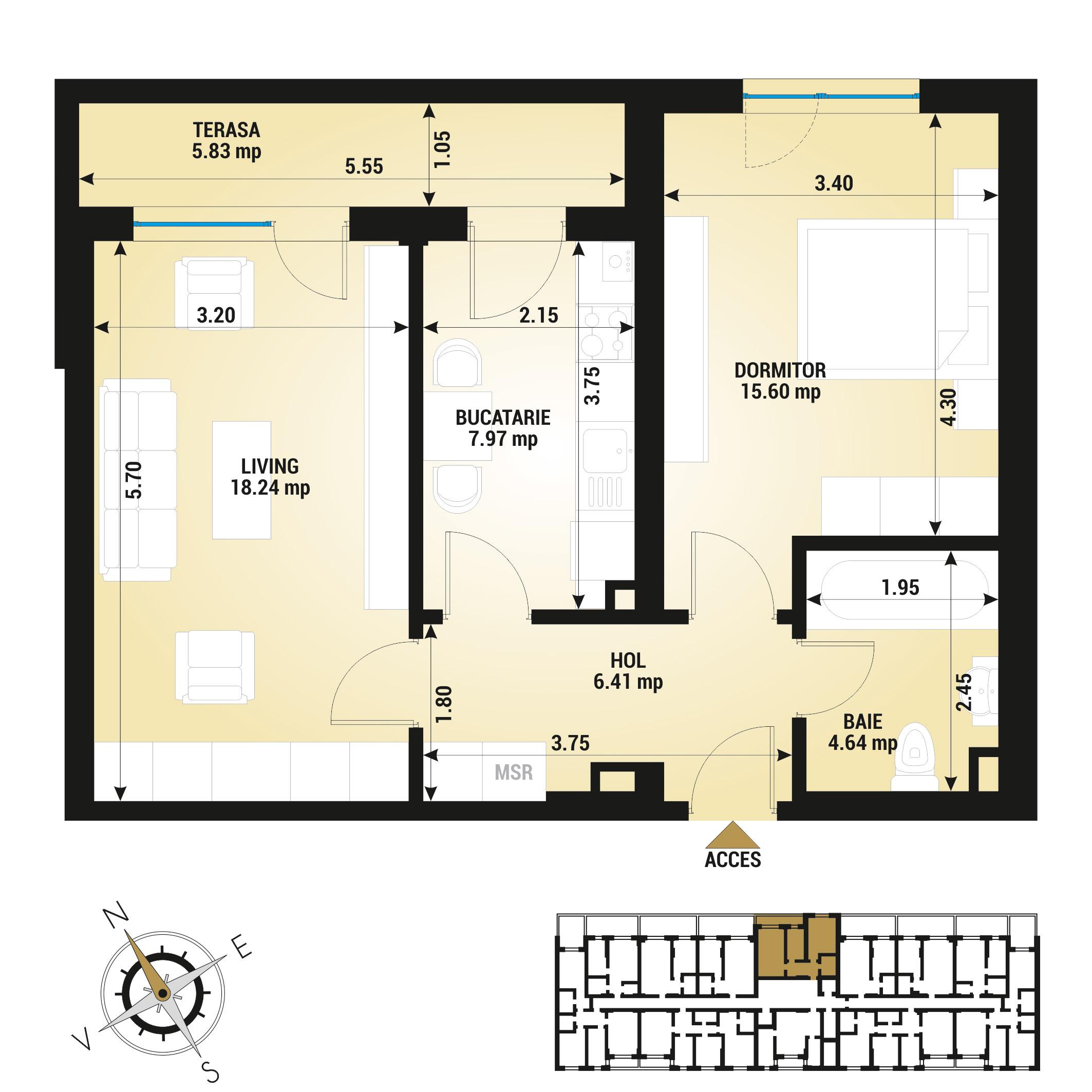 Apartament 2 camere de vanzare Bucuresti - Uverturii Residence - Militari - Lujerului - Gorjului - Tip 7 - T2