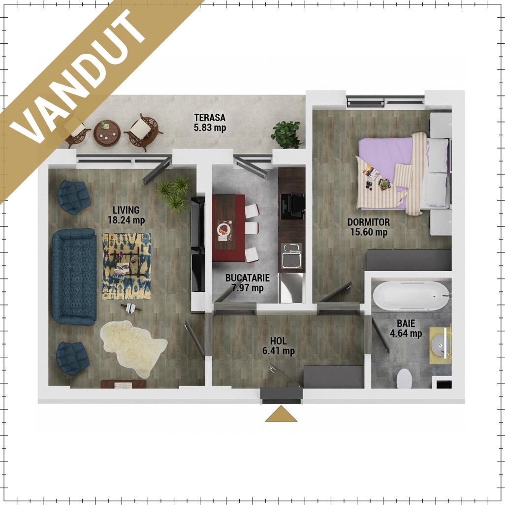 Apartament 2 camere de vanzare Bucuresti - Uverturii Residence - Militari - Lujerului - Gorjului - Tip 7 - T2 - V