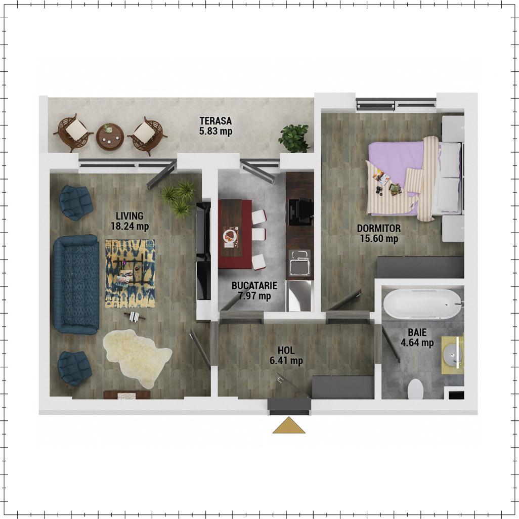 Apartament 2 camere de vanzare Bucuresti - Uverturii Residence - Militari - Lujerului - Gorjului - Tip 7 - T2 - E