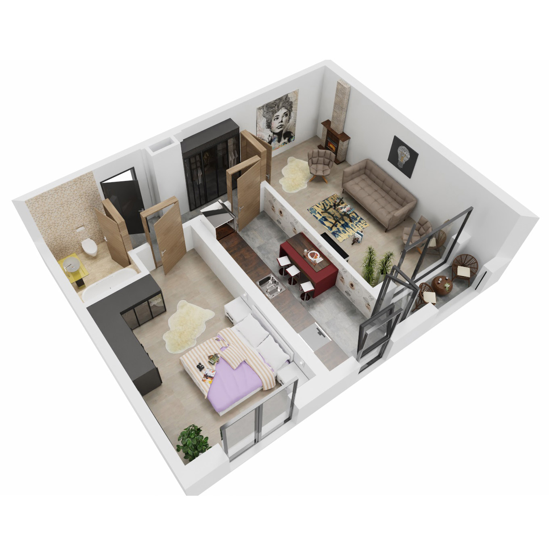 Apartament 2 camere de vanzare Bucuresti - Uverturii Residence - Militari - Lujerului - Gorjului - Tip 8 - T2 - A