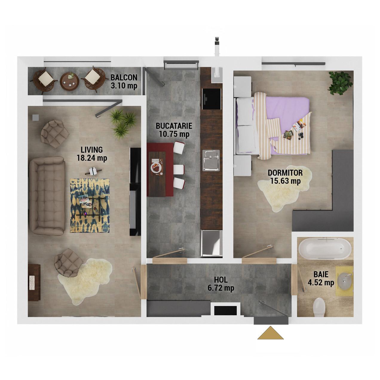 Apartament 2 camere de vanzare Bucuresti - Uverturii Residence - Militari - Lujerului - Gorjului - Tip 8 - T2 - D