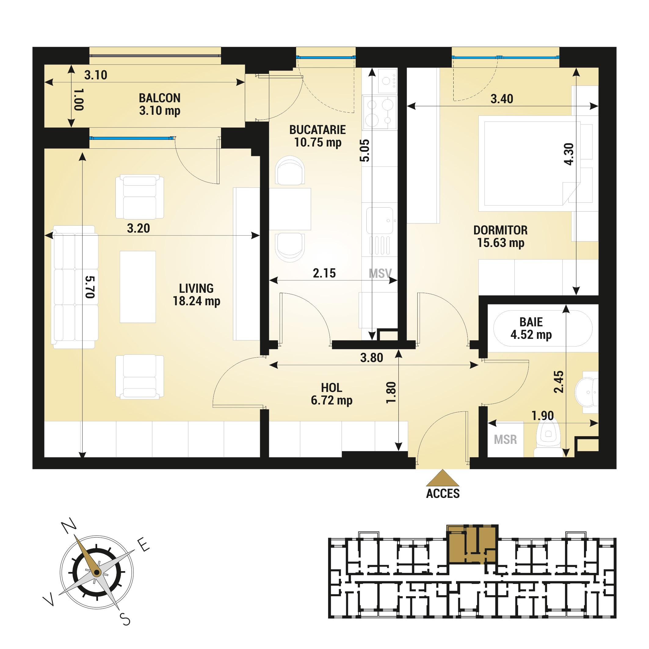 Apartament 2 camere de vanzare Bucuresti - Uverturii Residence - Militari - Lujerului - Gorjului - Tip 8 - T2
