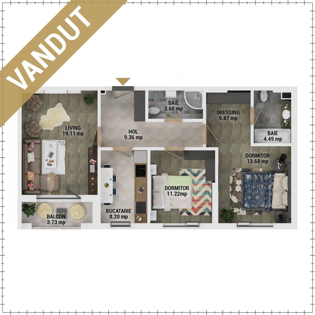 Apartamente 3 camere de vanzare Bucuresti - Uverturii Residence - Militari - Lujerului - Gorjului - Tip 1 - T2 - V