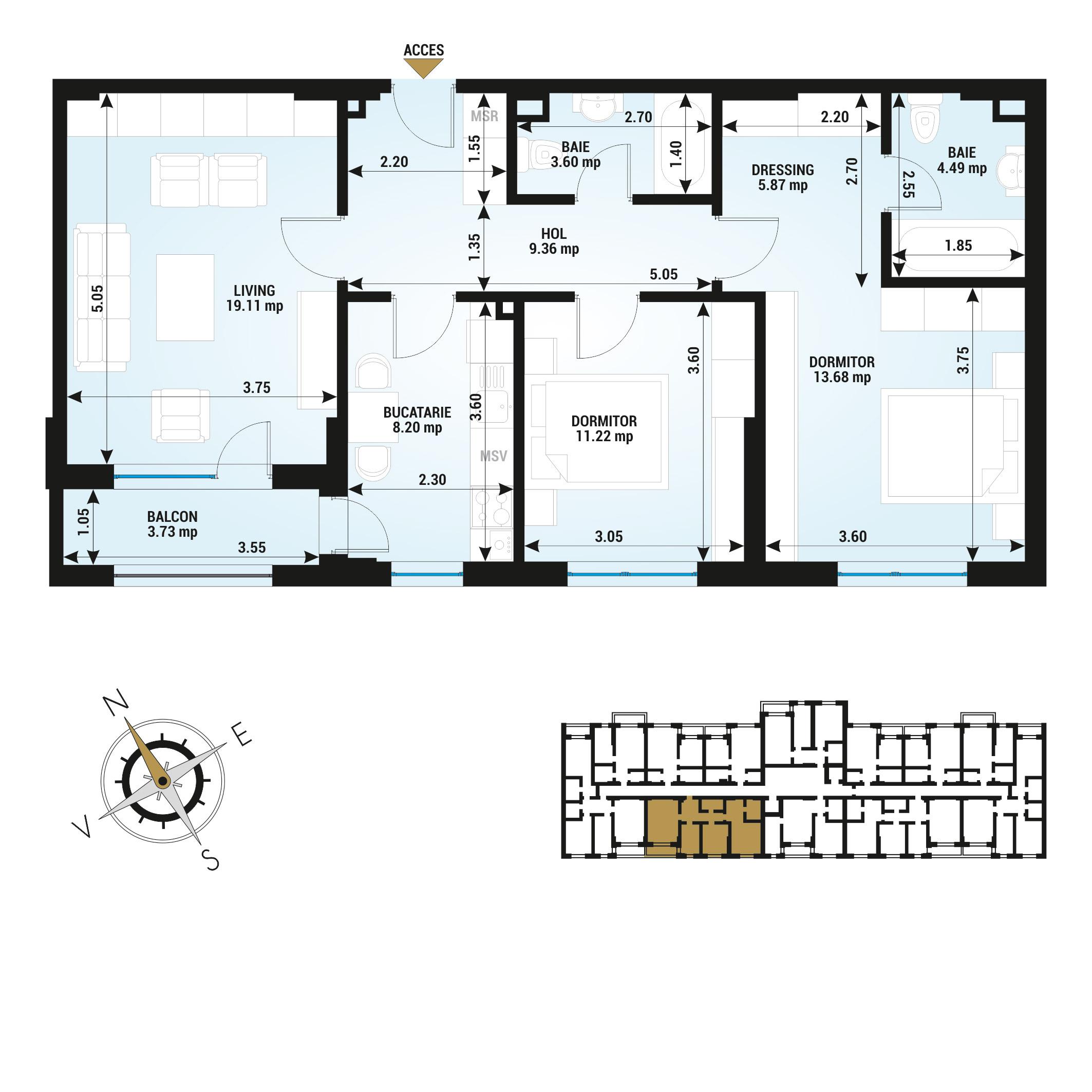 Apartamente 3 camere de vanzare Bucuresti - Uverturii Residence - Militari - Lujerului - Gorjului - Tip 1 - T2