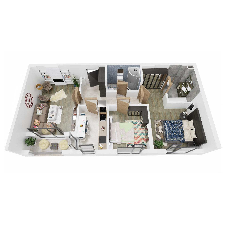 Apartamente 3 camere de vanzare Bucuresti - Uverturii Residence - Militari - Lujerului - Gorjului - Tip 1D - T2 - A