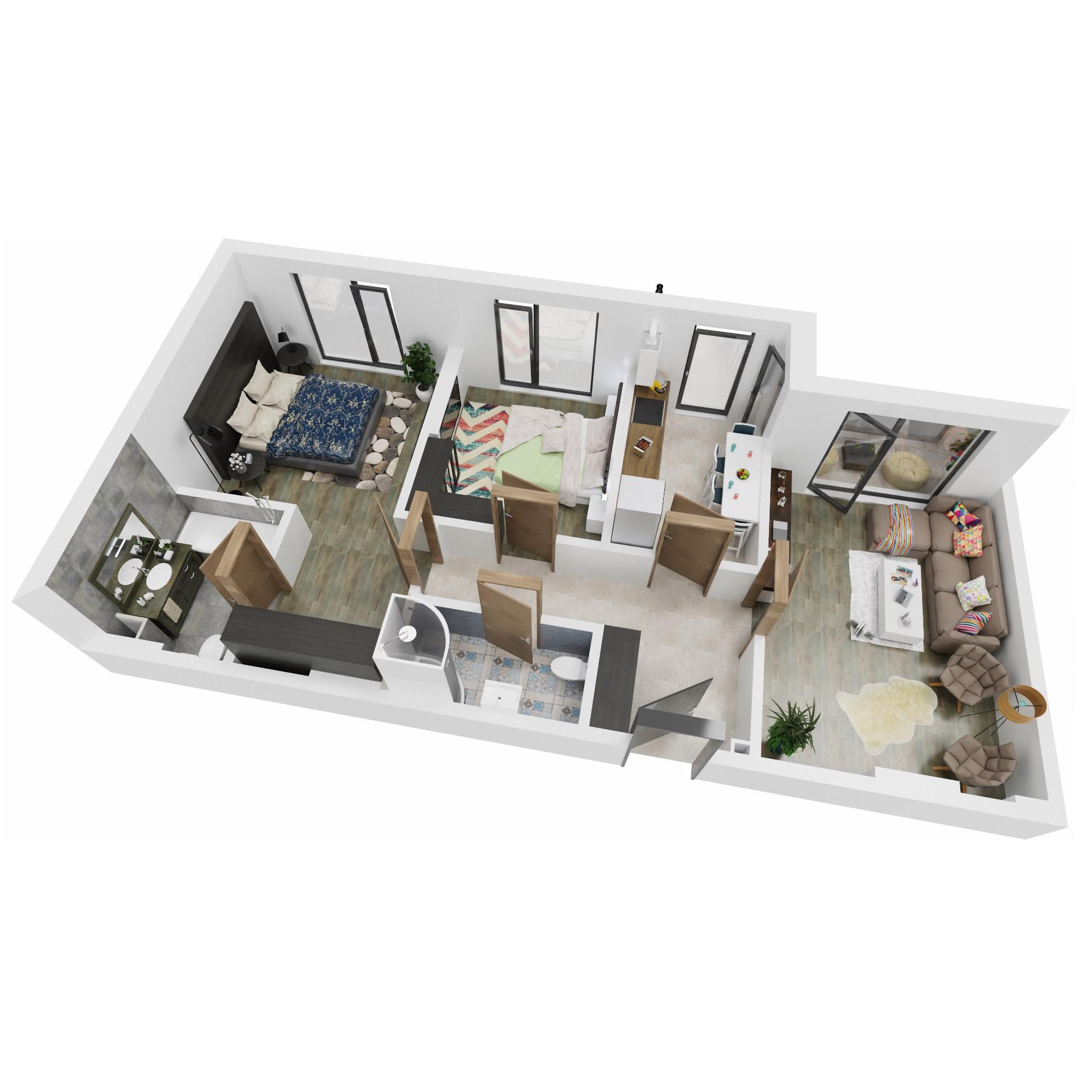 Apartamente 3 camere de vanzare Bucuresti - Uverturii Residence - Militari - Lujerului - Gorjului - Tip 1D - T2 - B