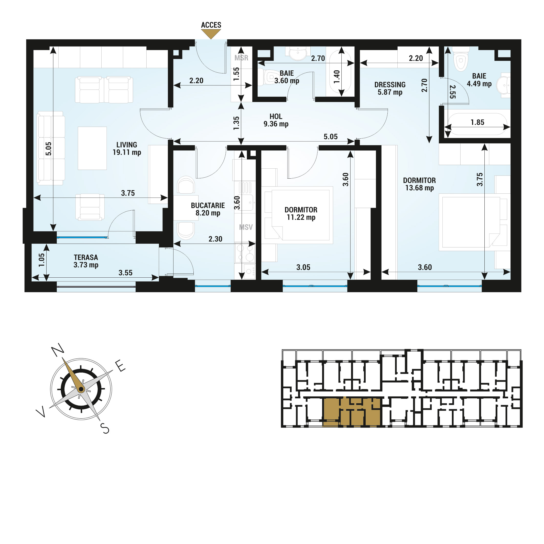 Apartamente 3 camere de vanzare Bucuresti - Uverturii Residence - Militari - Lujerului - Gorjului - Tip 1D - T2