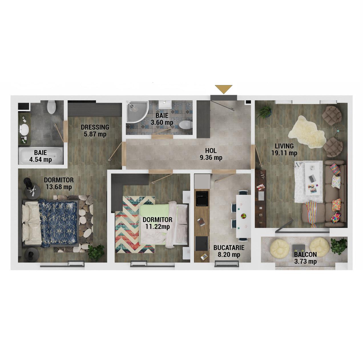 Apartamente 3 camere de vanzare Bucuresti - Uverturii Residence - Militari - Lujerului - Gorjului - Tip 2 - T2 - D