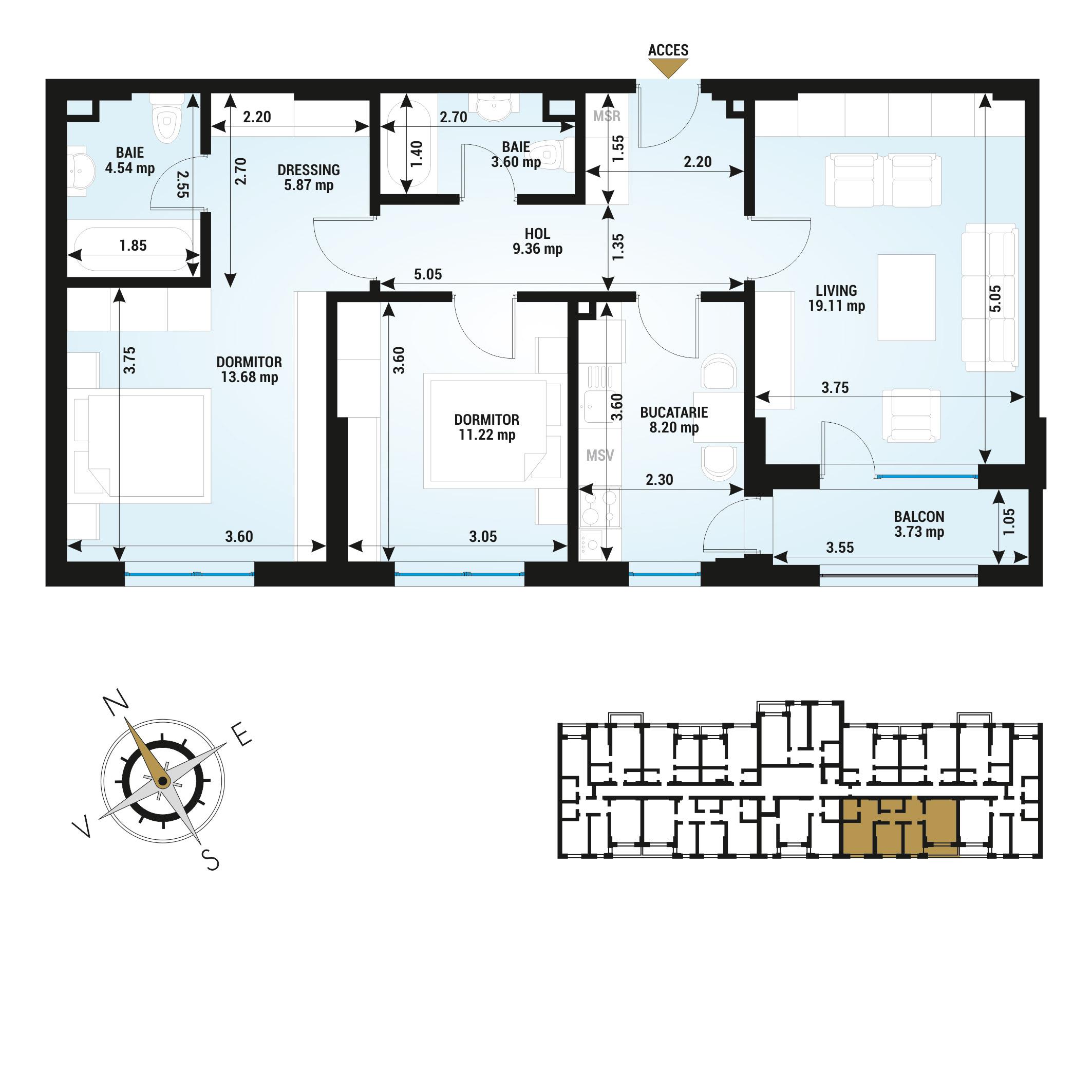 Apartamente 3 camere de vanzare Bucuresti - Uverturii Residence - Militari - Lujerului - Gorjului - Tip 2 - T2
