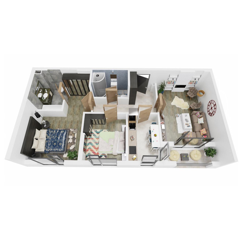 Apartamente 3 camere de vanzare Bucuresti - Uverturii Residence - Militari - Lujerului - Gorjului - Tip 2D - T2 - A