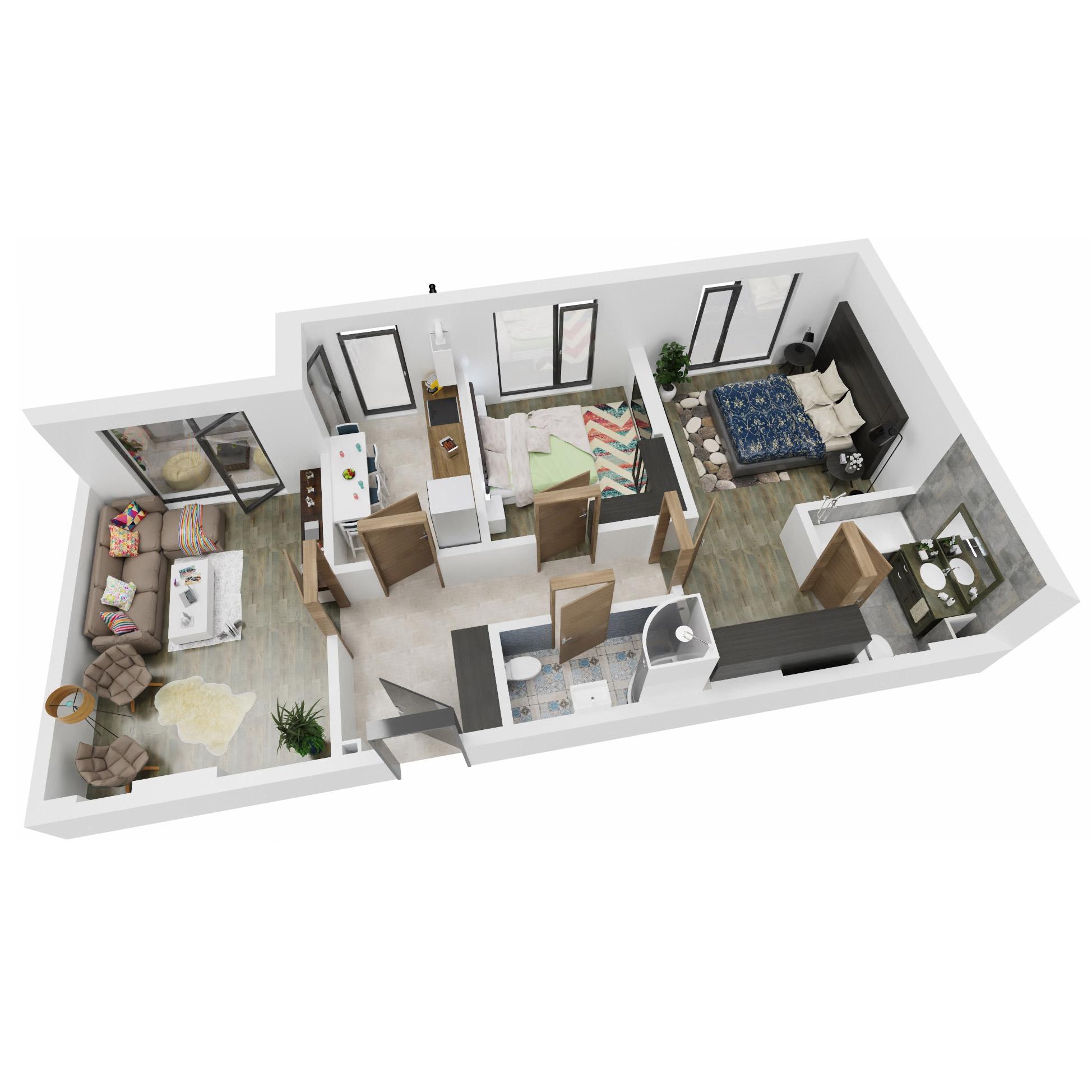 Apartamente 3 camere de vanzare Bucuresti - Uverturii Residence - Militari - Lujerului - Gorjului - Tip 2D - T2 - B