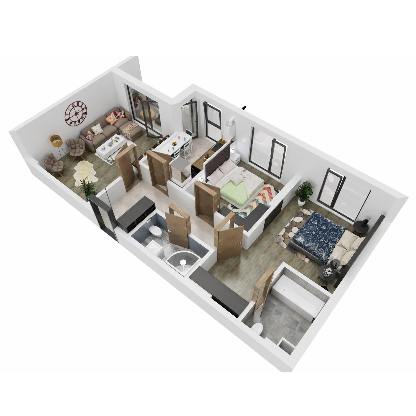 Apartamente 3 camere de vanzare Bucuresti - Uverturii Residence - Militari - Lujerului - Gorjului - Tip 2D - T2 - C