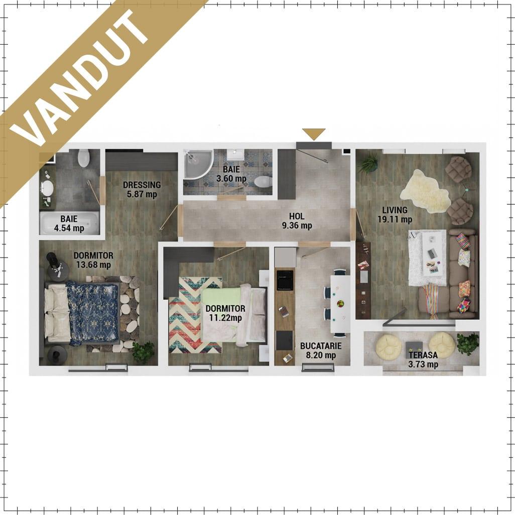 Apartamente 3 camere de vanzare Bucuresti - Uverturii Residence - Militari - Lujerului - Gorjului - Tip 2D - T2 - V