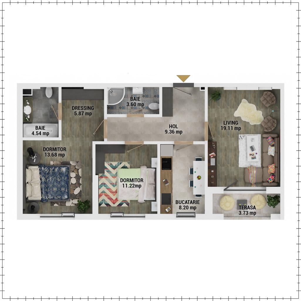 Apartamente 3 camere de vanzare Bucuresti - Uverturii Residence - Militari - Lujerului - Gorjului - Tip 2D - T2 - E