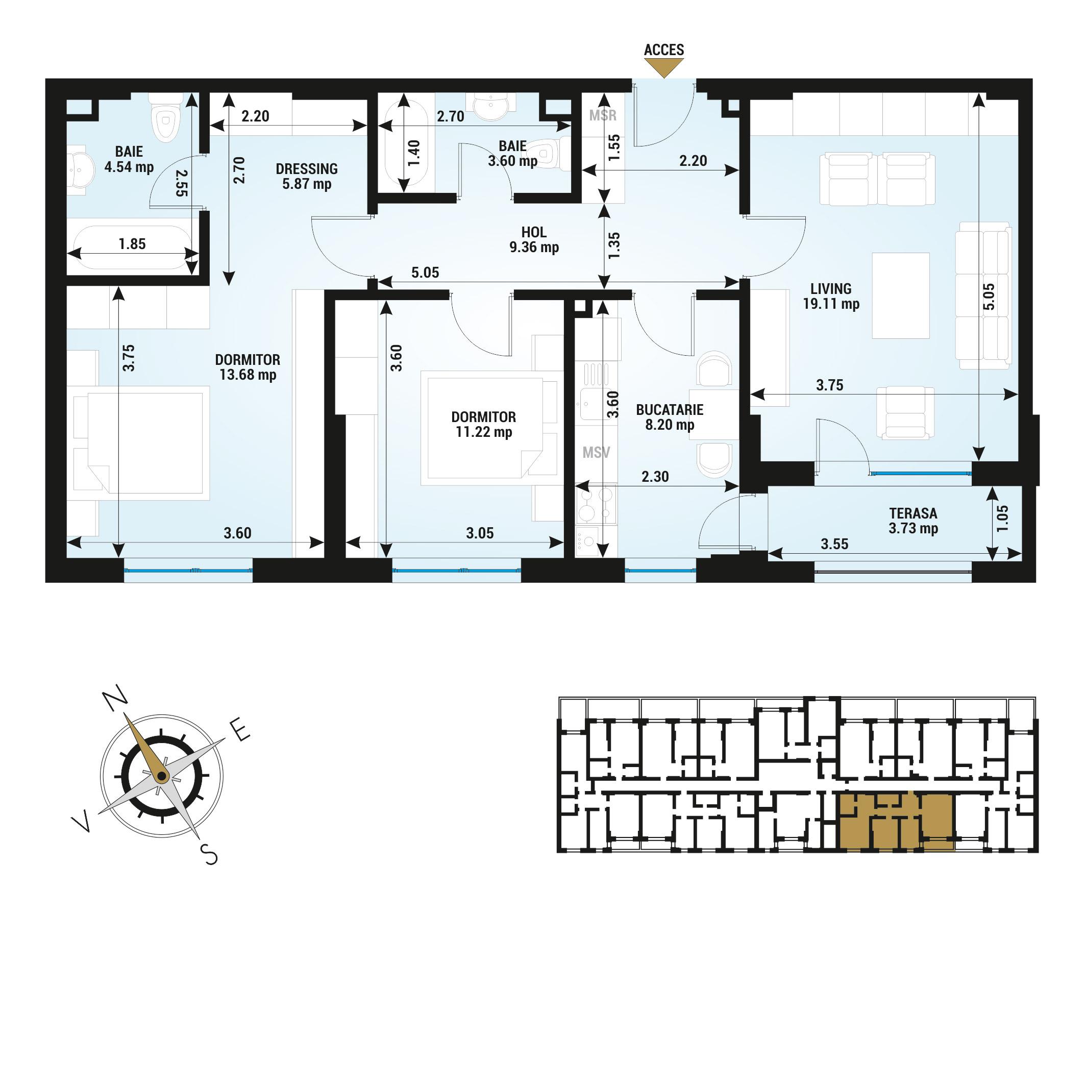 Apartamente 3 camere de vanzare Bucuresti - Uverturii Residence - Militari - Lujerului - Gorjului - Tip 2D - T2