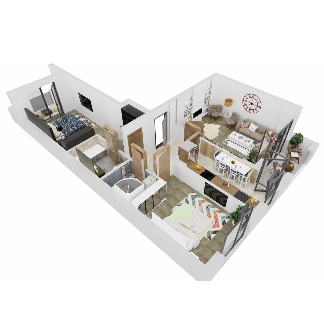 Apartament 3 Camere de vanzare Bucuresti - Uverturii Residence - Militari - Lujerului - Gorjului - Tip 3 - T2 - B