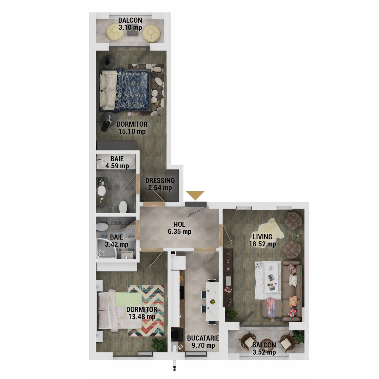 Apartament 3 Camere de vanzare Bucuresti - Uverturii Residence - Militari - Lujerului - Gorjului - Tip 3 - T2 - D