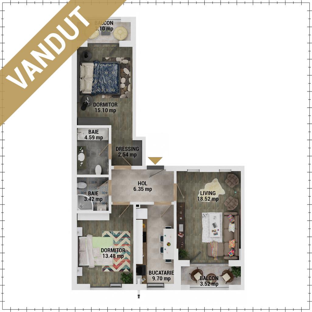 Apartament 3 Camere de vanzare Bucuresti - Uverturii Residence - Militari - Lujerului - Gorjului - Tip 3 - T2 - EV
