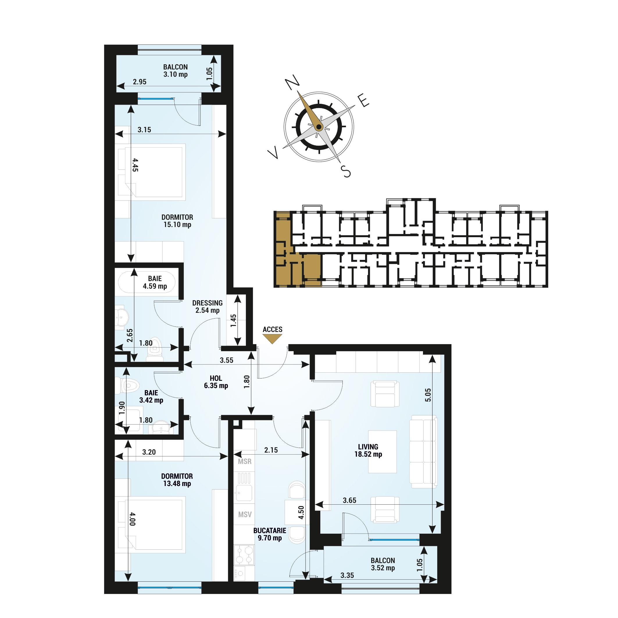 Apartament 3 Camere de vanzare Bucuresti - Uverturii Residence - Militari - Lujerului - Gorjului - Tip 3 - T2