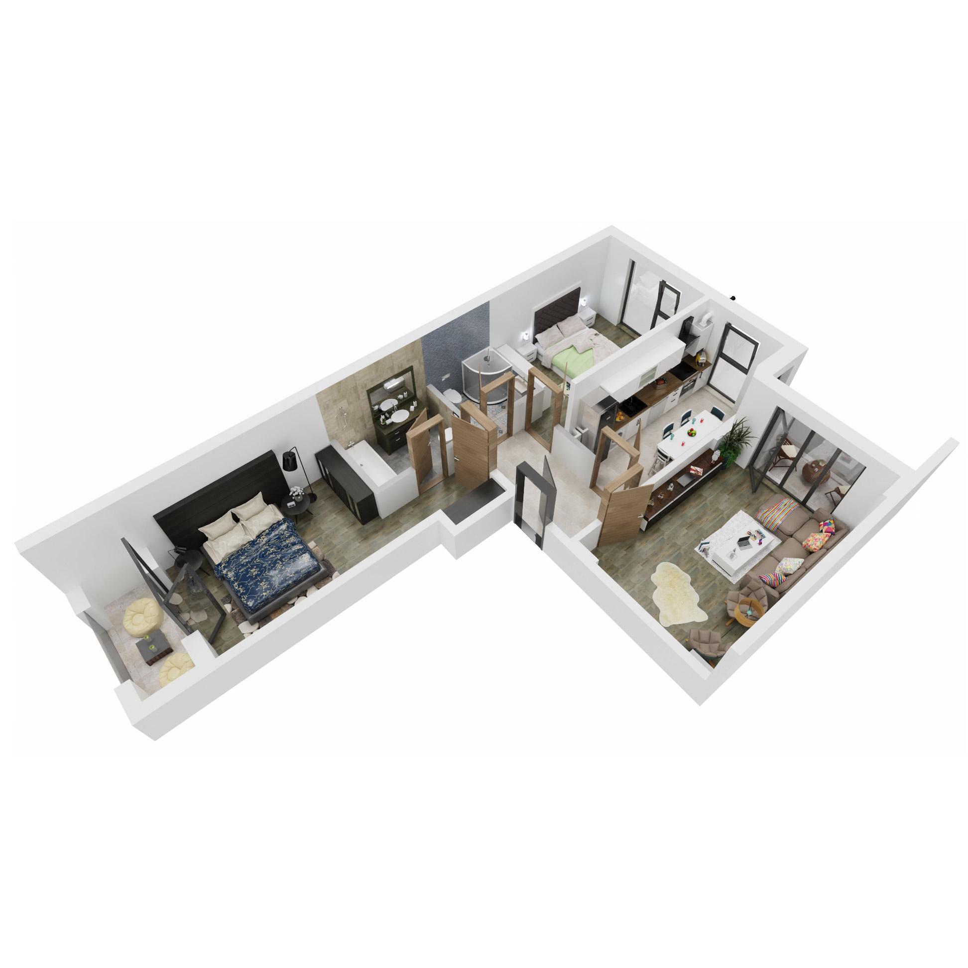 Apartamente 3 camere de vanzare Bucuresti - Uverturii Residence - Militari - Lujerului - Gorjului - Tip 4 - T2 - A