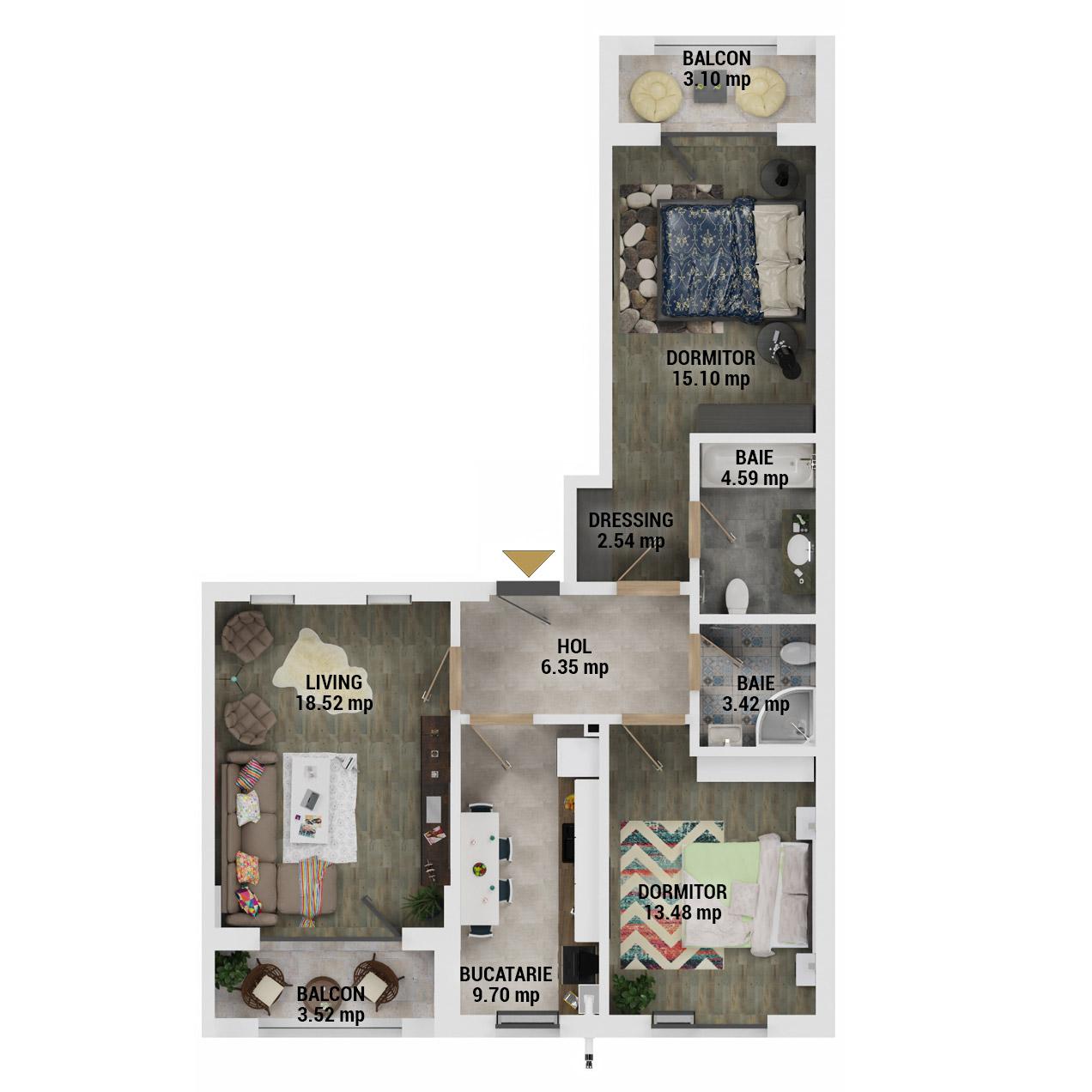 Apartamente 3 camere de vanzare Bucuresti - Uverturii Residence - Militari - Lujerului - Gorjului - Tip 4 - T2 - D