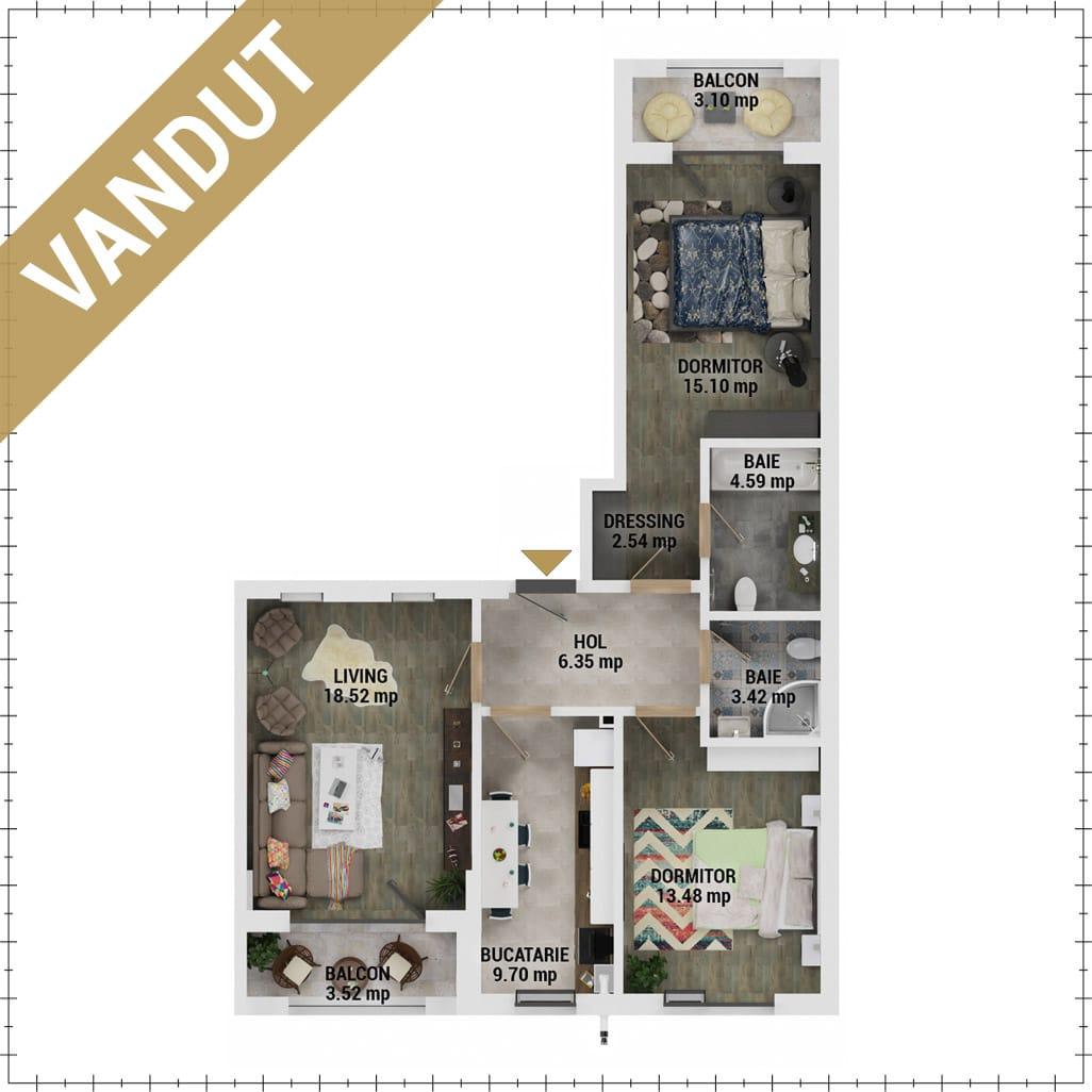 Apartamente 3 camere de vanzare Bucuresti - Uverturii Residence - Militari - Lujerului - Gorjului - Tip 4 - T2 - EV