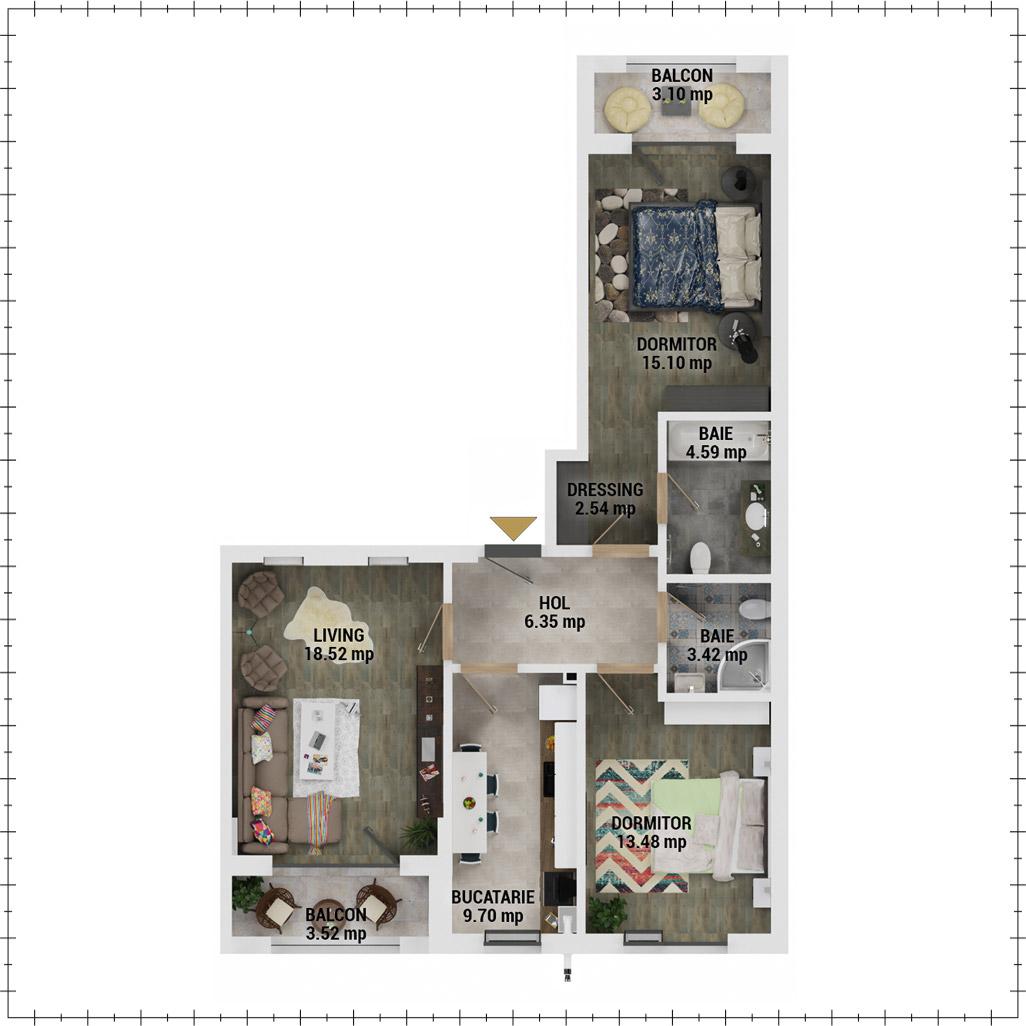 Apartamente 3 camere de vanzare Bucuresti - Uverturii Residence - Militari - Lujerului - Gorjului - Tip 4 - T2 - E