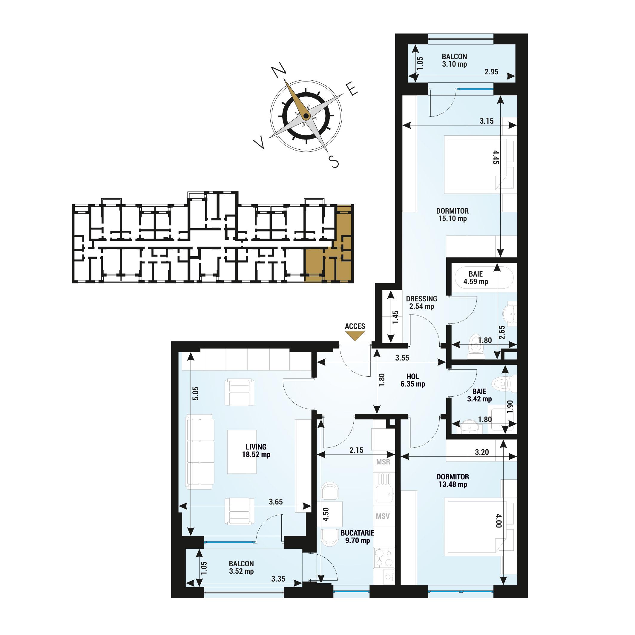Apartamente 3 camere de vanzare Bucuresti - Uverturii Residence - Militari - Lujerului - Gorjului - Tip 4 - T2