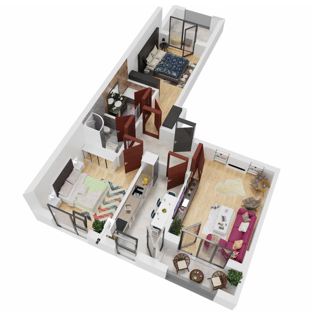 Apartamente 3 camere de vanzare Bucuresti - Uverturii Residence - Militari - Lujerului - Gorjului - Tip 5 - T2 - C