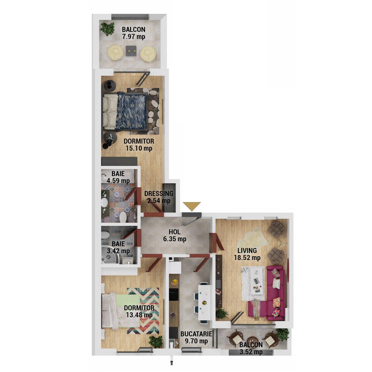 Apartamente 3 camere de vanzare Bucuresti - Uverturii Residence - Militari - Lujerului - Gorjului - Tip 5 - T2 - D