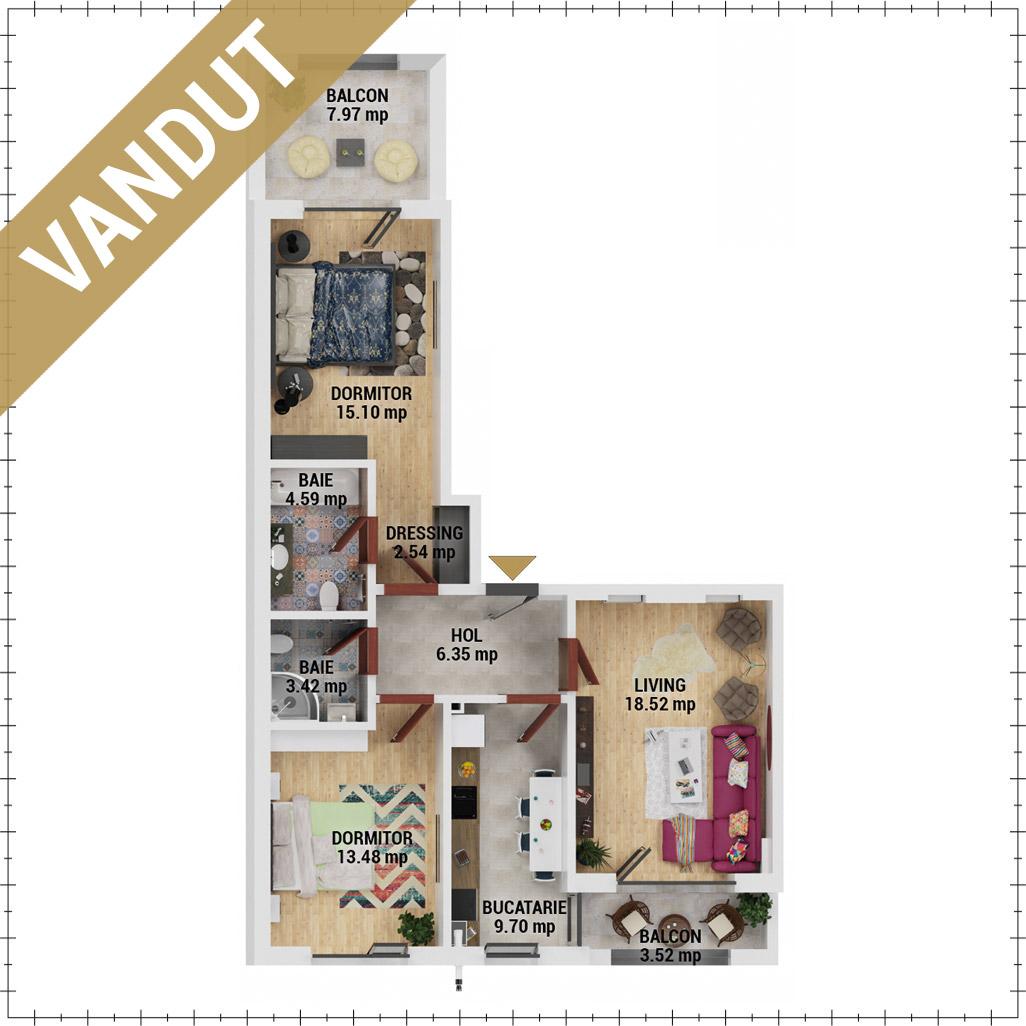 Apartamente 3 camere de vanzare Bucuresti - Uverturii Residence - Militari - Lujerului - Gorjului - Tip 5 - T2 - EV