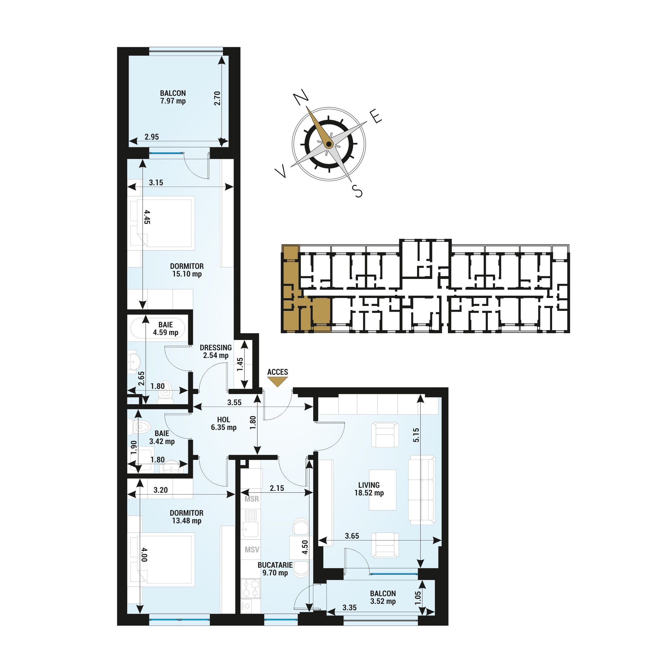 Apartamente 3 camere de vanzare Bucuresti - Uverturii Residence - Militari - Lujerului - Gorjului - Tip 5 - T2