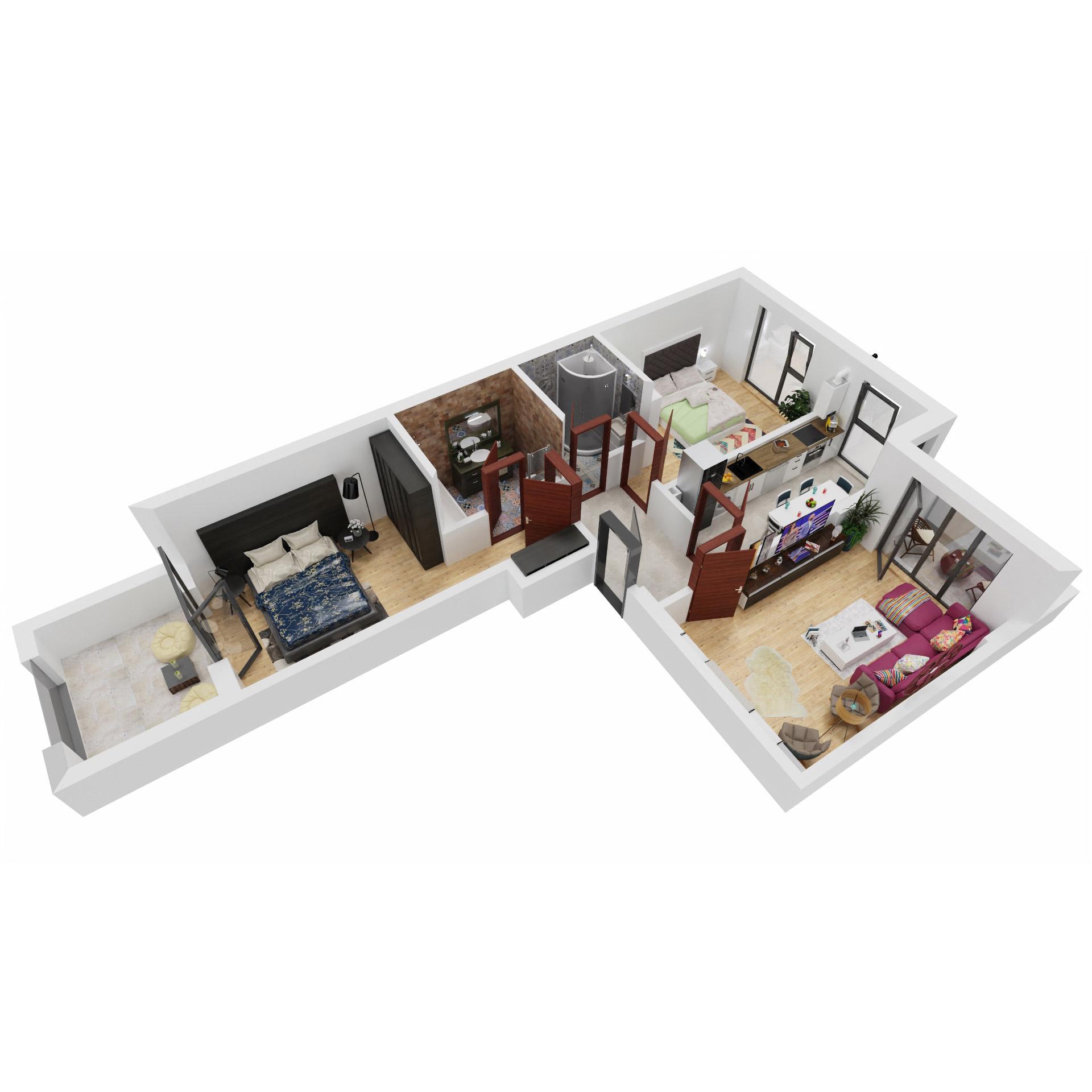 Apartamente 3 camere de vanzare Bucuresti - Uverturii Residence - Militari - Lujerului - Gorjului - Tip 6 - T2 - A
