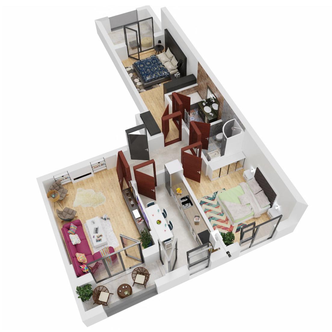 Apartamente 3 camere de vanzare Bucuresti - Uverturii Residence - Militari - Lujerului - Gorjului - Tip 6 - T2 - C