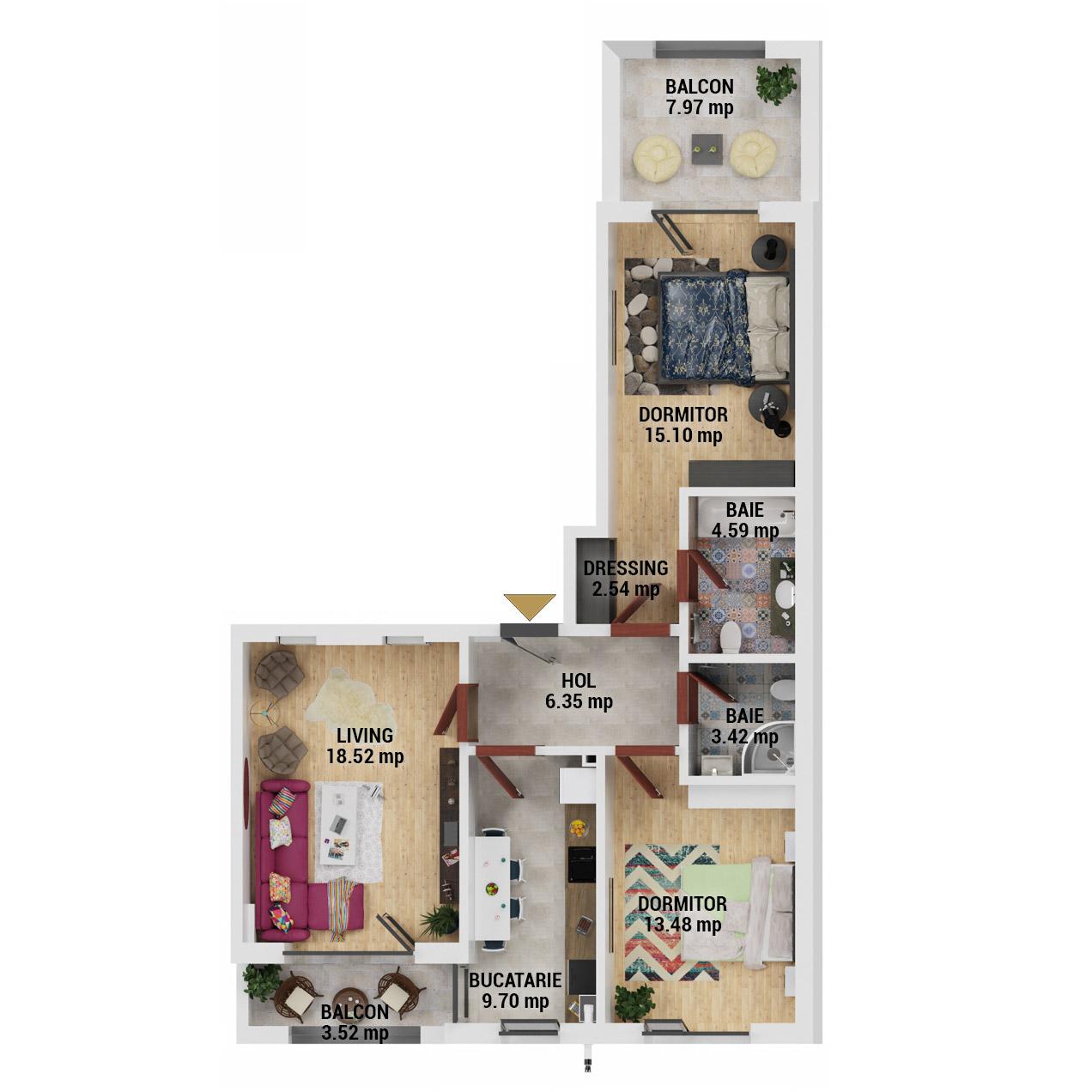 Apartamente 3 camere de vanzare Bucuresti - Uverturii Residence - Militari - Lujerului - Gorjului - Tip 6 - T2 - D