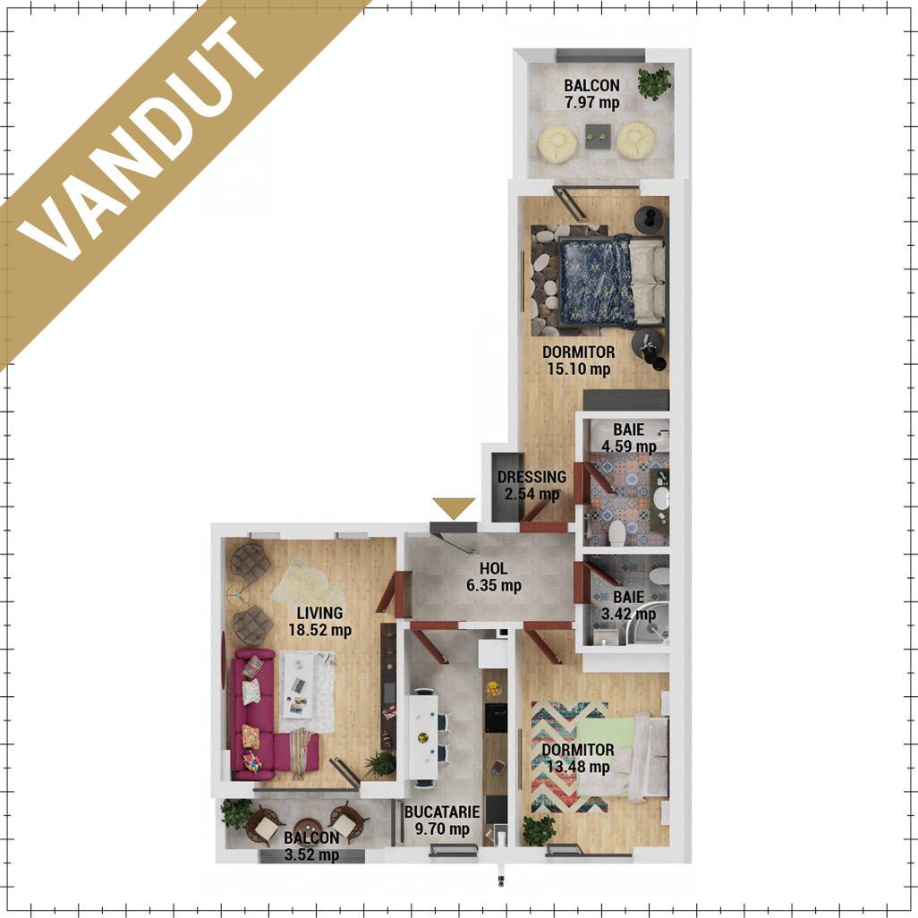 Apartamente 3 camere de vanzare Bucuresti - Uverturii Residence - Militari - Lujerului - Gorjului - Tip 6 - T2 - EV