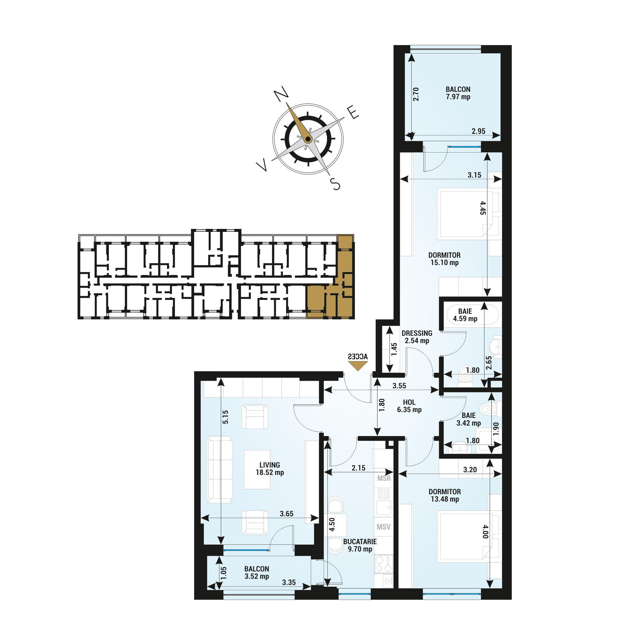 Apartamente 3 camere de vanzare Bucuresti - Uverturii Residence - Militari - Lujerului - Gorjului - Tip 6 - T2