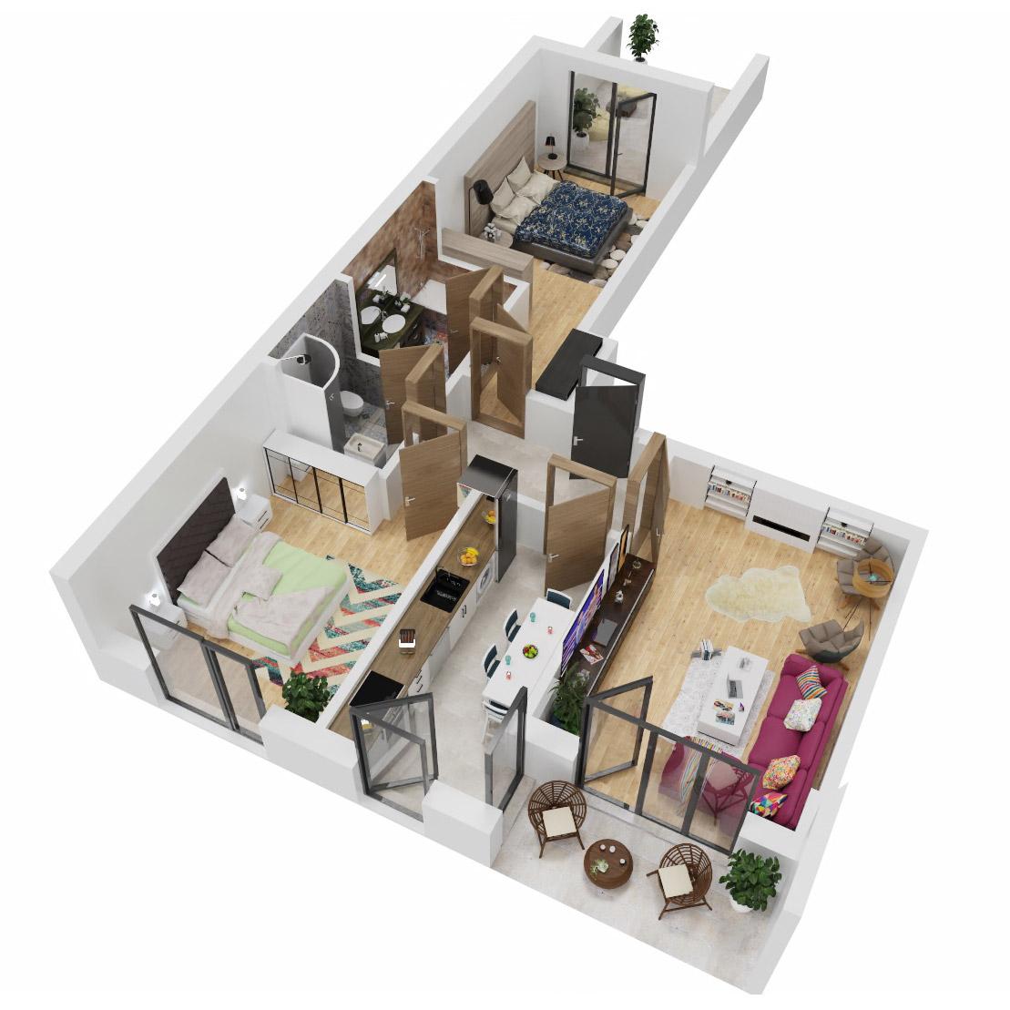 Apartamente 3 camere de vanzare Bucuresti - Uverturii Residence - Militari - Lujerului - Gorjului - Tip 7 - T2 - C