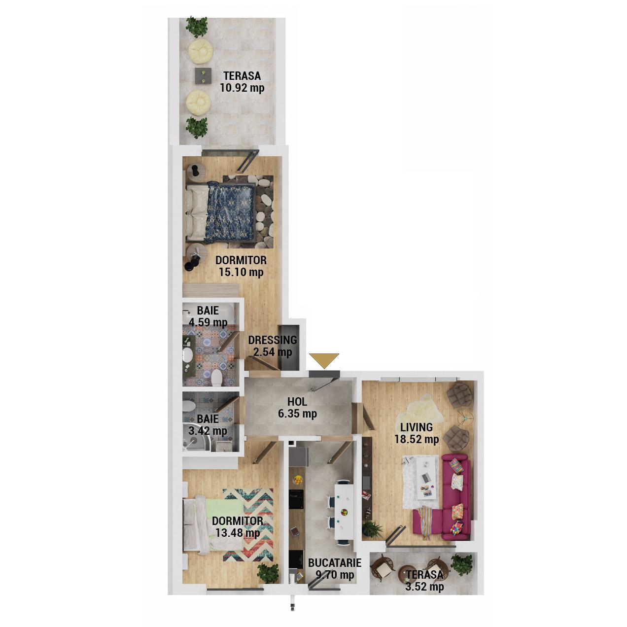 Apartamente 3 camere de vanzare Bucuresti - Uverturii Residence - Militari - Lujerului - Gorjului - Tip 7 - T2 - D