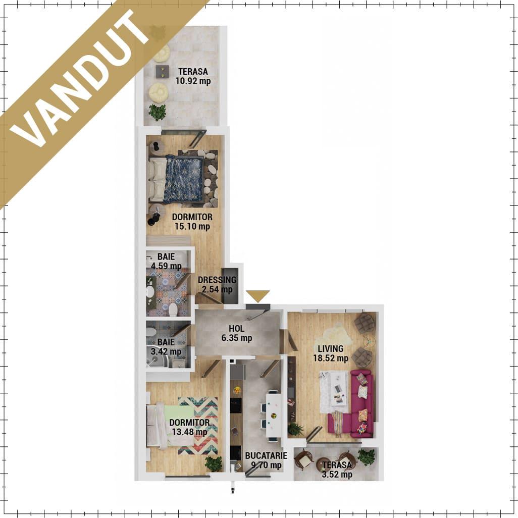Apartamente 3 camere de vanzare Bucuresti - Uverturii Residence - Militari - Lujerului - Gorjului - Tip 7 - T2 - V