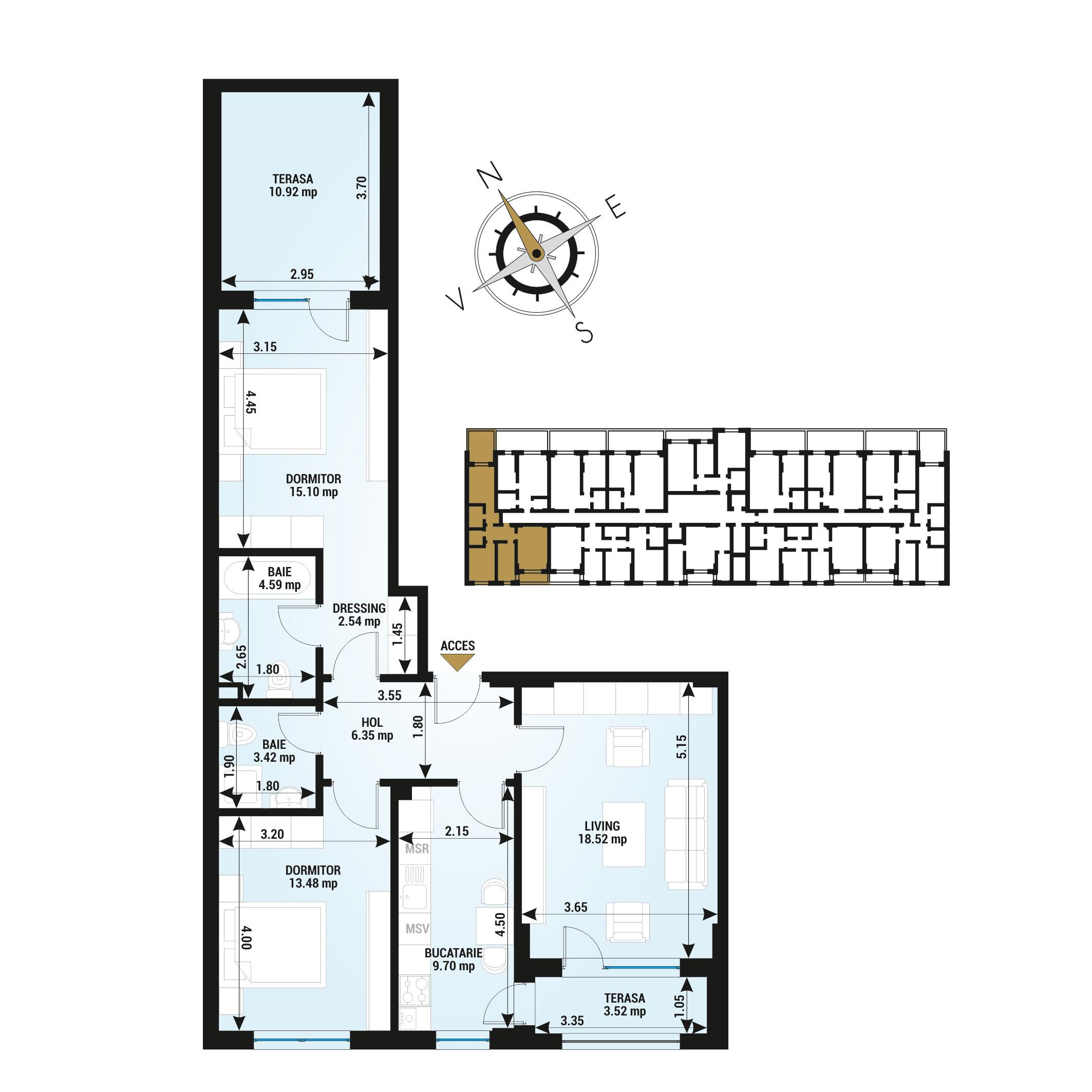 Apartamente 3 camere de vanzare Bucuresti - Uverturii Residence - Militari - Lujerului - Gorjului - Tip 7 - T2
