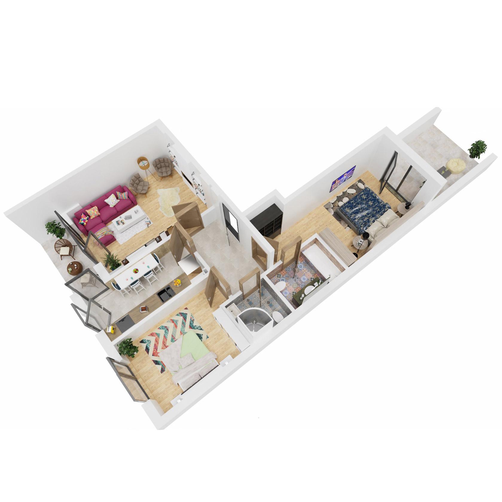 Apartamente 3 camere de vanzare Bucuresti - Uverturii Residence - Militari - Lujerului - Gorjului - Tip 8 - T2 - B