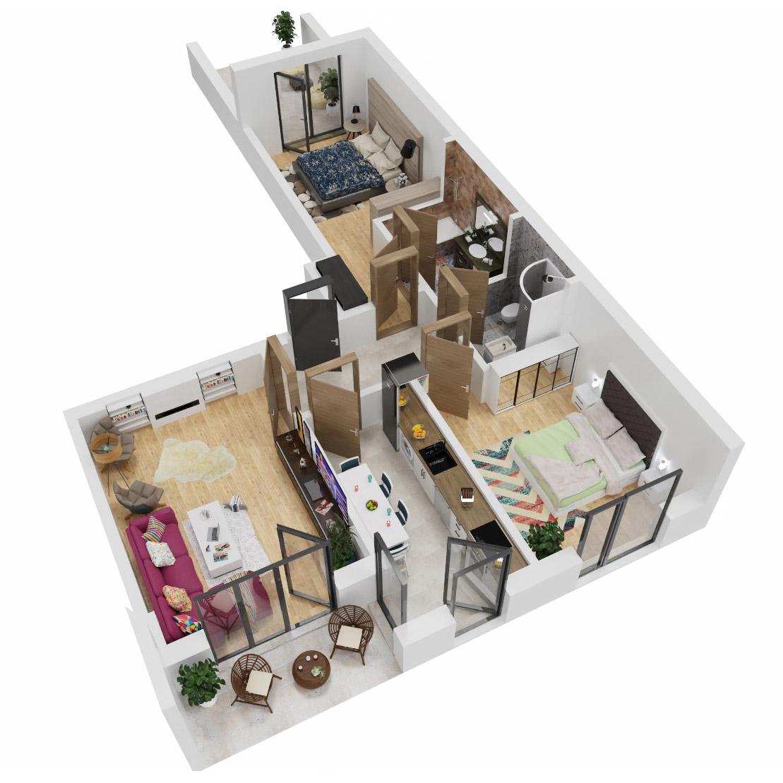 Apartamente 3 camere de vanzare Bucuresti - Uverturii Residence - Militari - Lujerului - Gorjului - Tip 8 - T2 - C
