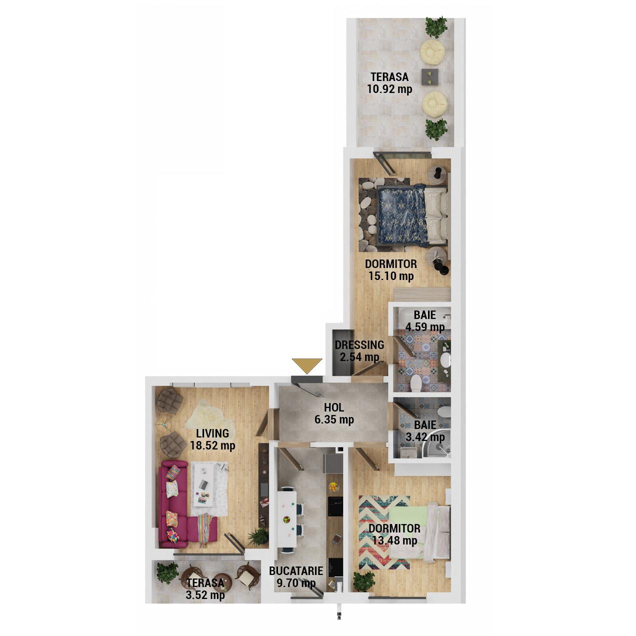 Apartamente 3 camere de vanzare Bucuresti - Uverturii Residence - Militari - Lujerului - Gorjului - Tip 8 - T2 - D