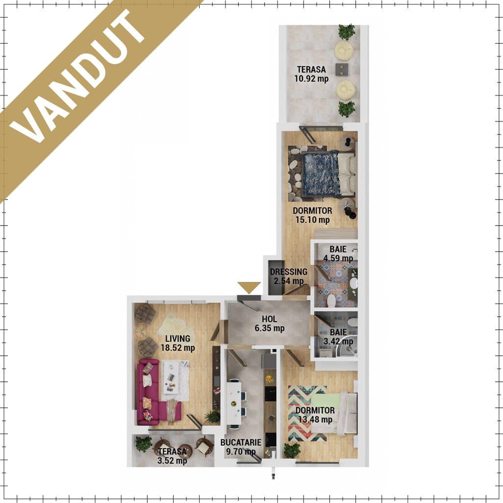Apartamente 3 camere de vanzare Bucuresti - Uverturii Residence - Militari - Lujerului - Gorjului - Tip 8 - T2 - EV