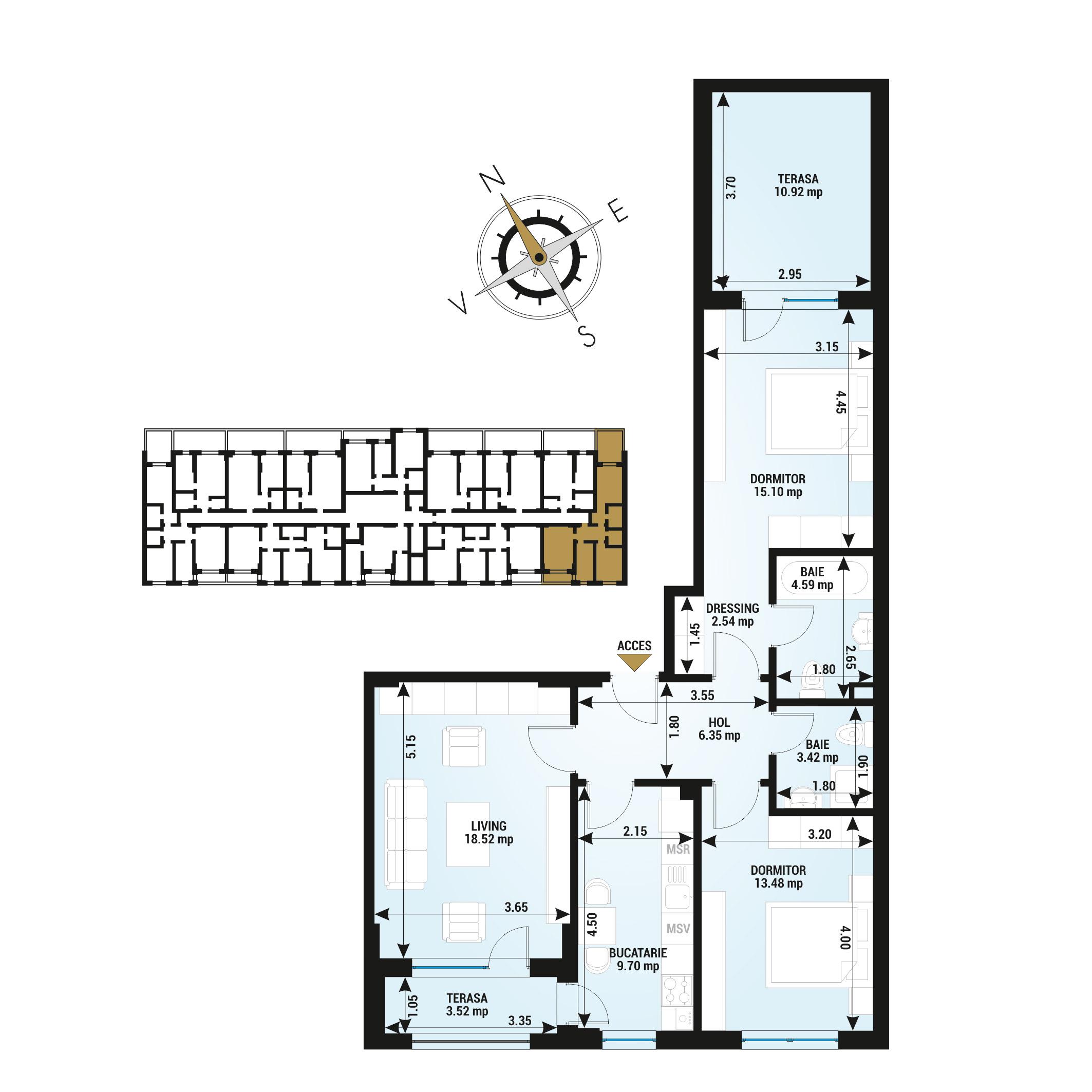 Apartamente 3 camere de vanzare Bucuresti - Uverturii Residence - Militari - Lujerului - Gorjului - Tip 8 - T2